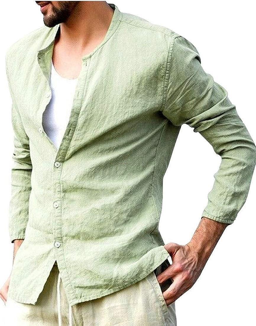 WSPLYSPJY Mens Button Up Linen Shirts Summer Long Sleeve Button Down Hippie Shirts
