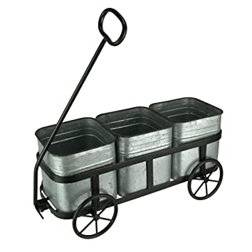 Carro rústico de Metal con 3 macetas galvanizadas de Audrey ...