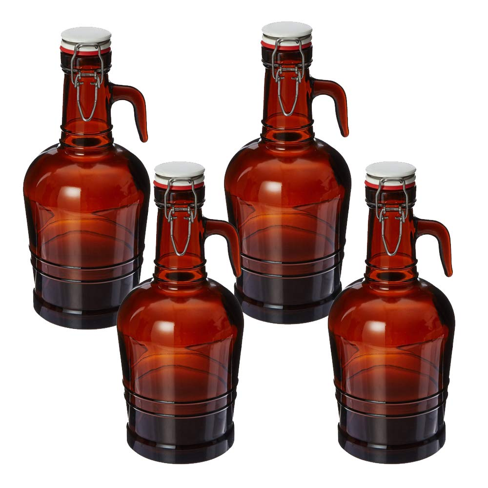 2 Liter Growler with Glass Handle- Amber (SET OF 4)