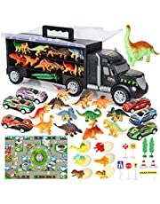 Vanplay Dinosaurus Truck Toy Car Transporter Carrier Set Bevat een Dinosauruspop met een Speelgoedkussen en een Mini-Racer met Eieren, Verkeersborden voor Kinderen 37 STUKS