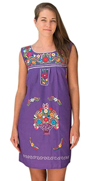 Liliana Cruz Women\'s Sleeveless Hand Embroidered Mexican Floral Tunic Mini  Dress Small to Plus Size