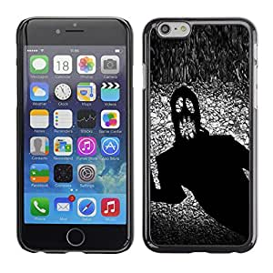 Qstar Arte & diseño plástico duro Fundas Cover Cubre Hard Case Cover para Apple (5.5 inches !!!) iPhone 6 Plus ( Monster Ghost Halloween Black Scary Terror Ink)