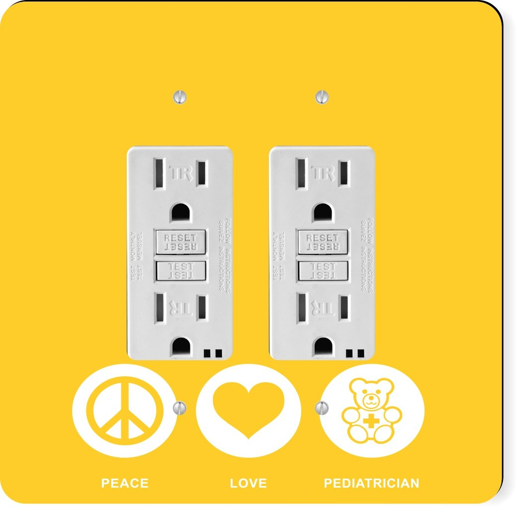 Rikki Knight 42645 Gfidouble Peace Love Pediatrician Yellow Color Coding Your Circuit Breaker Box First Home Life Design Light Switch Plate