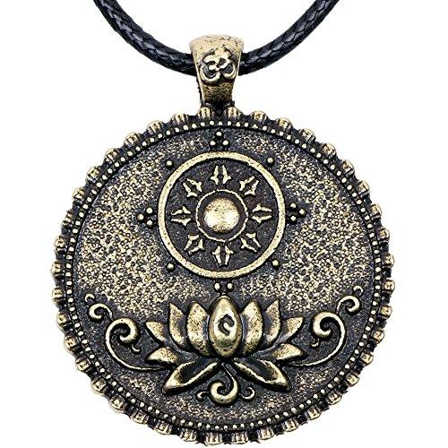 Paw Paw House Om Lotus Mandala Pendant Necklace Dharma Wheel Tibetan Buddhist Symbol Meditation Yoga Inspired Jewelry for Women Men (4127Br)