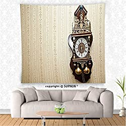 VROSELV custom tapestry Clock Decor Tapestry An Antique Wood Carving Clock with Roman Numerals Hanging on the Wall Design Wall Hanging for Bedroom Living Room Dorm Brown and Tan