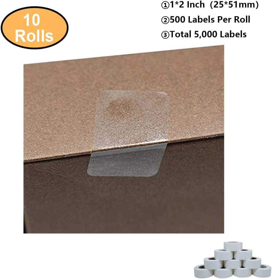 """2500 2/"""" Round Clear Package Wafer Tamper Seal Label Sticker Dot  5 rolls of 500"""