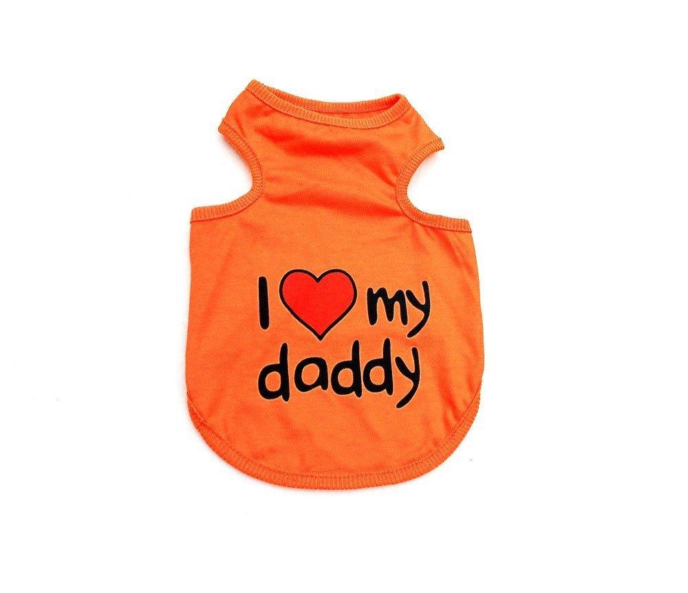 smalllee /_ LUCKY /_ ranger I Love MOM Dad Pull T-shirt pour homme gilet pour petit chien v/êtements pour chien Puppy Costume S-XXL