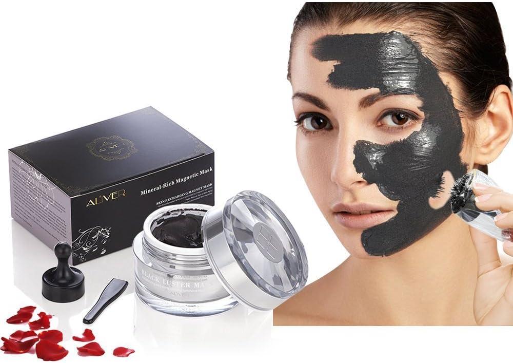 Aliver Magnétique Masque: mascarilla facial con fórmula para limpiar los poros y eliminar las impurezas de la piel; con hierro, revitalizante, magnética, antiedad, 50ml