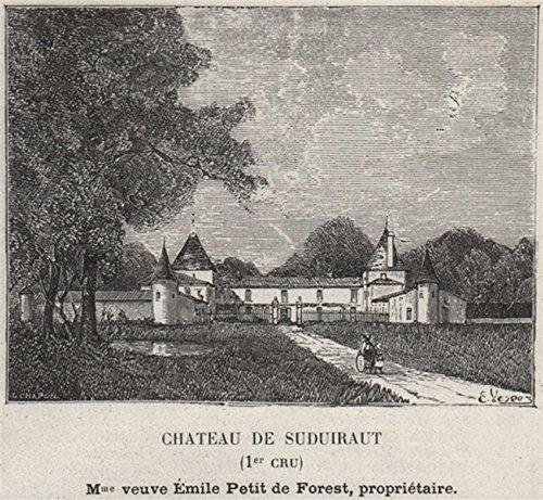 Vin Grand Cru - GRANDS VINS BLANCS. PREIGNAC. Chateau de Suduiraut (1er Cru). Forest. SMALL - 1908 - old print - antique print - vintage print - Gironde art prints