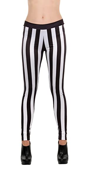 14a9731a9f4d Image Unavailable. Image not available for. Color: Black and White Striped  Leggings ...