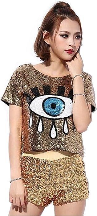 b6e679a4ac5 Womens Fashion Sequins Evil Eye Sparkle Glitter Hip Hop Shirt Tank Top  Loose Dancing Tees,