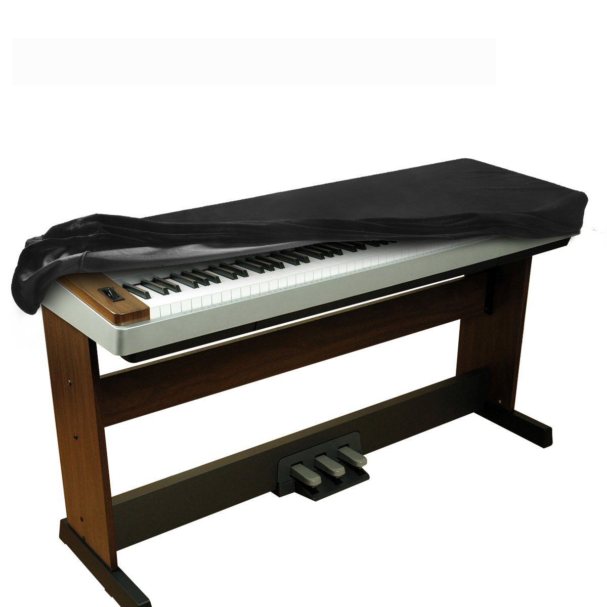 BALFER dehnbare Samt Klavier Tastatur Staub Abdeckung für 88 Tasten-Tastatur(schwarz)
