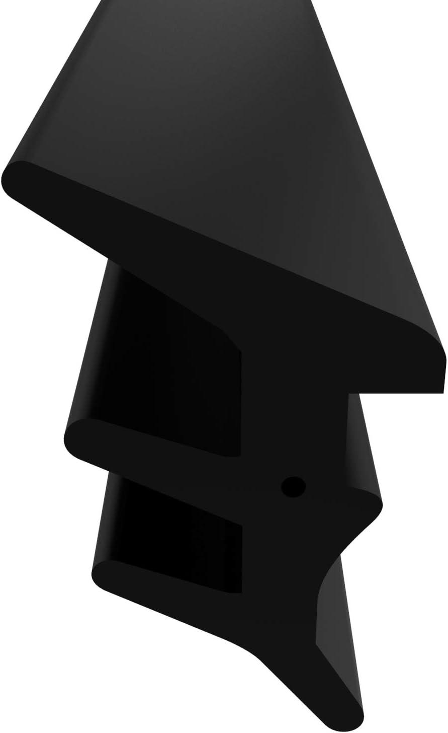 Junta para ventanas para sistemas de ventanas, junta de acristalamiento para exteriores con hilo antiestiramiento para ventanas de plástico y junta de ventana de aluminio, Negro