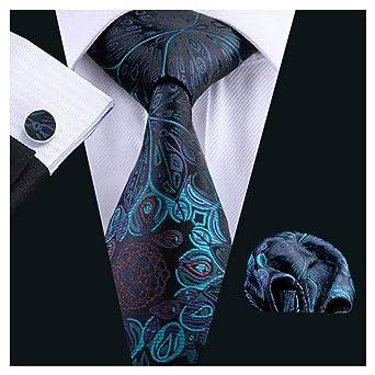Peacock Blue Jacquard Tie Mens Silk Necktie Handkerchief Cufflinks Set Gift 612