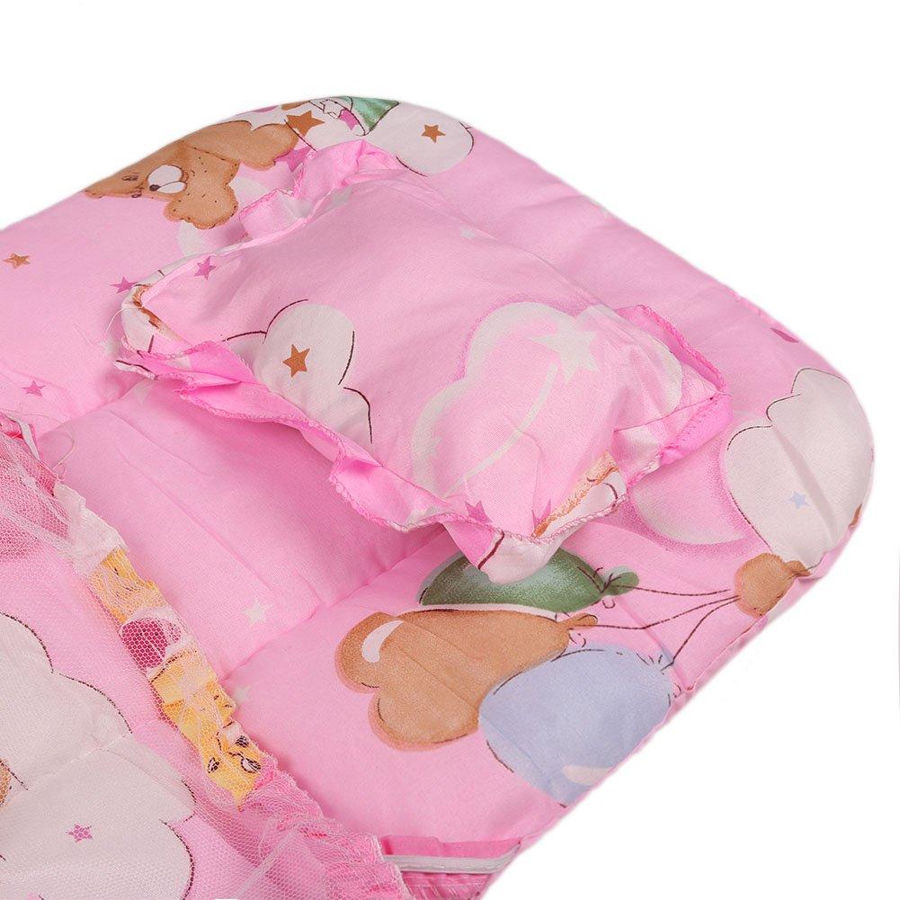 Cama de Beb/é Cama plegable port/átil para cama de pesebre Cama Mosquito para cama plegable con almohada
