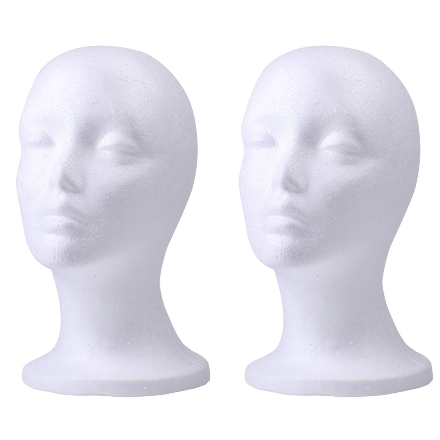 Foraineam 2 Pack Female Styrofoam Mannequin Head Cosmetics Model Head Wig Display Foam Mannequin Glasses Hat Hairpieces Stand by Foraineam