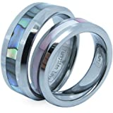 JewelryWe His and Hers Comfort Fit Tungsten Carbide Ring 8mm With Abalone Inlay His & 6mm With Pink Shell Inlay Hers Set Aniversary/Engagement/Wedding Bands - Free Engraving