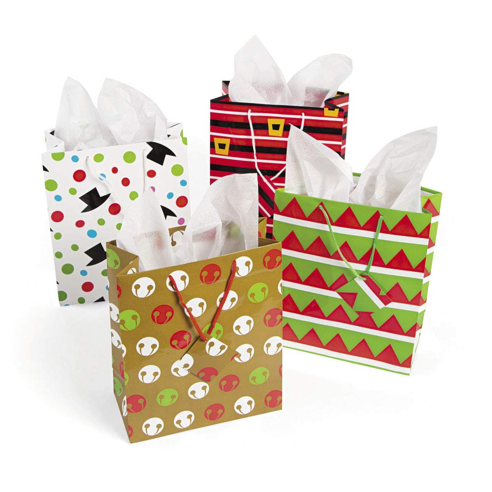 MEDIUM CHEERY CHRISTMAS GIFT BAG - Holiday Party Supplies - 12 per Pack FUN365