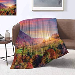 jecycleus Nature Children's Blanket Pastoral Autumn Morning in Mountain Village Fall Tree Surreal Rural Print Lightweight Soft Warm and Comfortable W54 by L72 Inch Red Purple Green