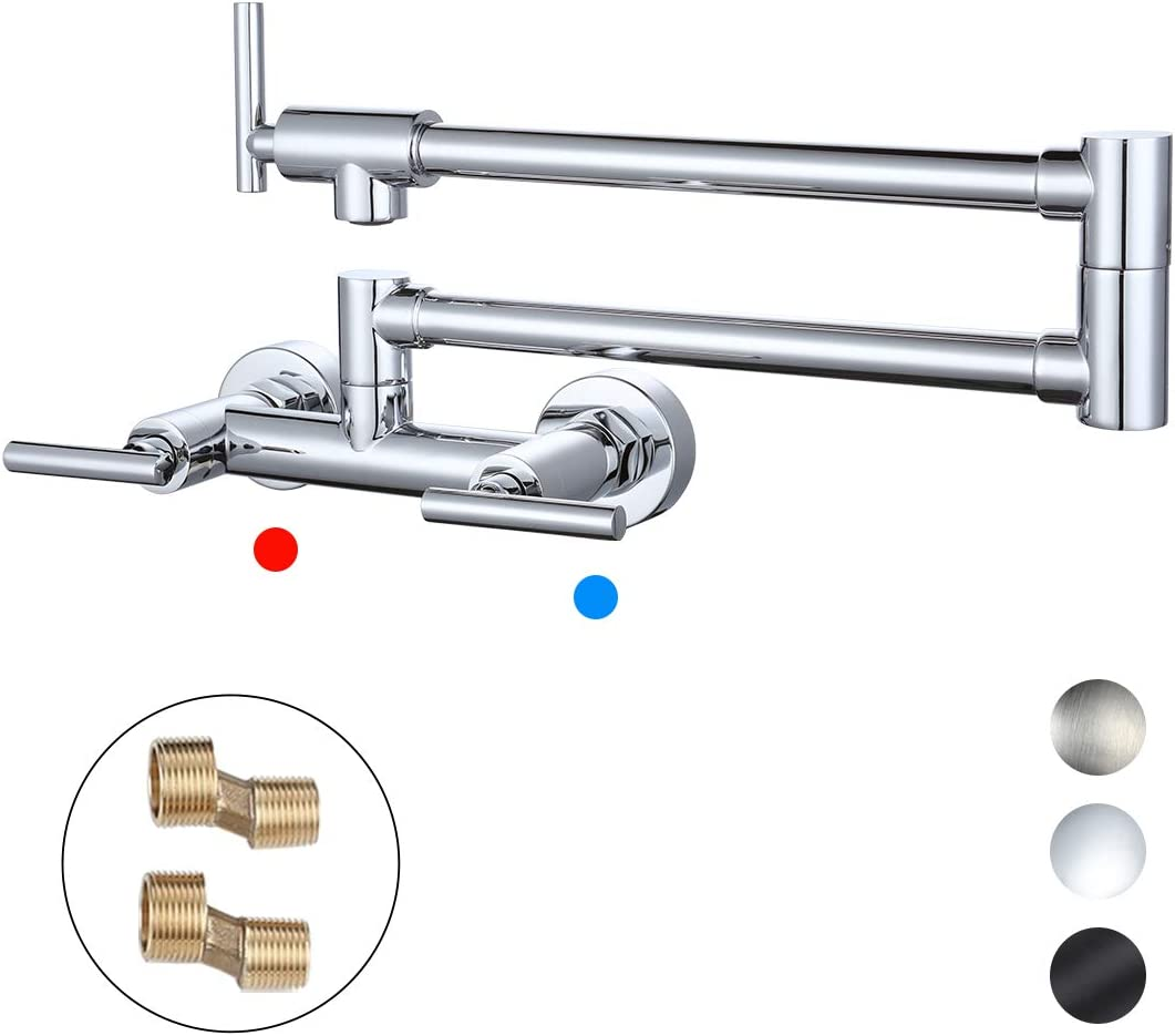 WOWOW Pot Filler Faucets Both Hot Cold Water Wall Faucet Brass Faucets Kitchen Folding Kitchen Faucets Commercial Sink Faucet 2 Handles 2 Holes Chrome Lead-Free Double Joint Swing Arm Faucets