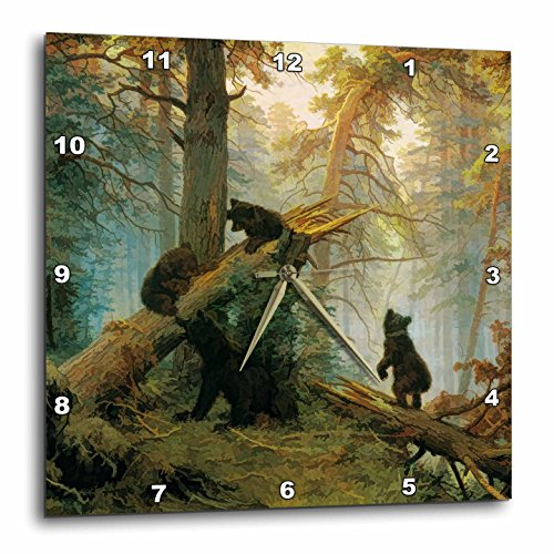 Pine Forest Bear - 3dRose dpp_52267_3 Vintage 1889 Bear Painting by Ivan Shishkin Morning in a Pine Forest Wall Clock, 15 by 15-Inch