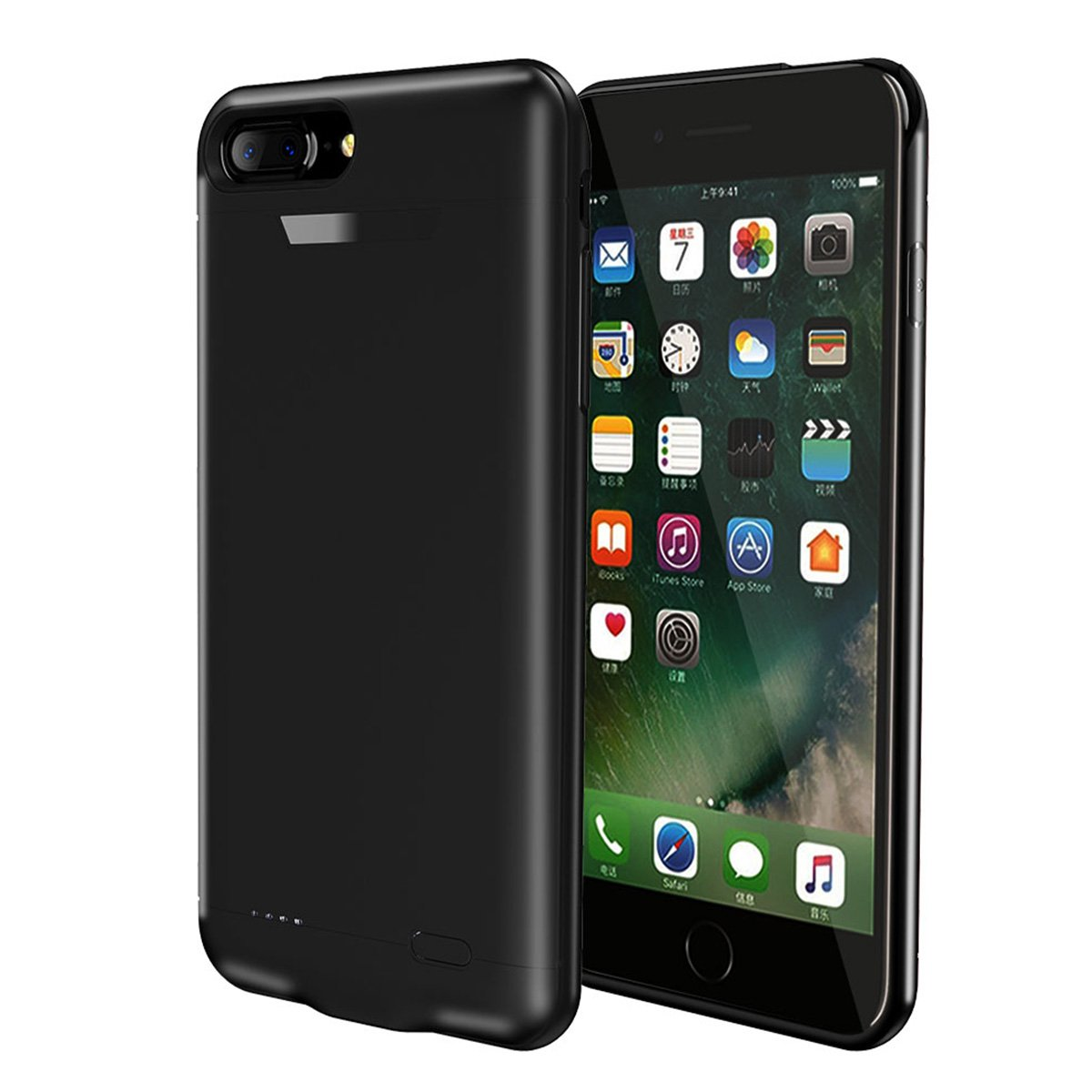 AICEDA iPhone 7 iPhone 8 Battery Case, External Battery Charger Case for the iPhone 7 iPhone 8 Power Battery Pack-Black