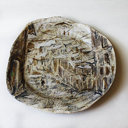 [Ceramic Plate Hand Painted, hand made ceramic platter, wall decor, landscape plate, wall plate, white brown platter, art plate, Siena] (Art Platter)