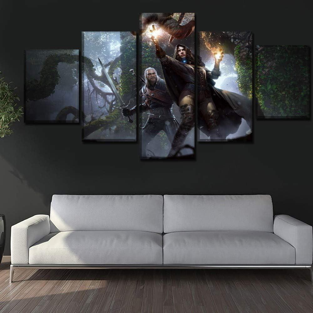 Yxsnow 5 Leinwandbilder Rahmenlos Wandbilder Wohnkultur Leinwanddrucke HD The Witcher 3 Wild Hunt-Videospiel Dekoartikel Drucke auf Leinwand Halloween