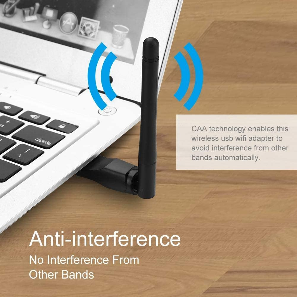 2.4GHz Band 150Mbps Wireless Network Card 2dBi High Gain USB Adapter 64//128//152-digit WEP Encryption Wireless Network Card fo sa USB WiFi Adapter