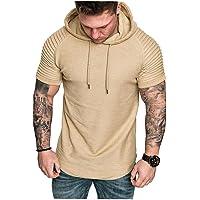 EElabper Camiseta casual plisada de color sólido con cuello redondo y manga corta para hombre