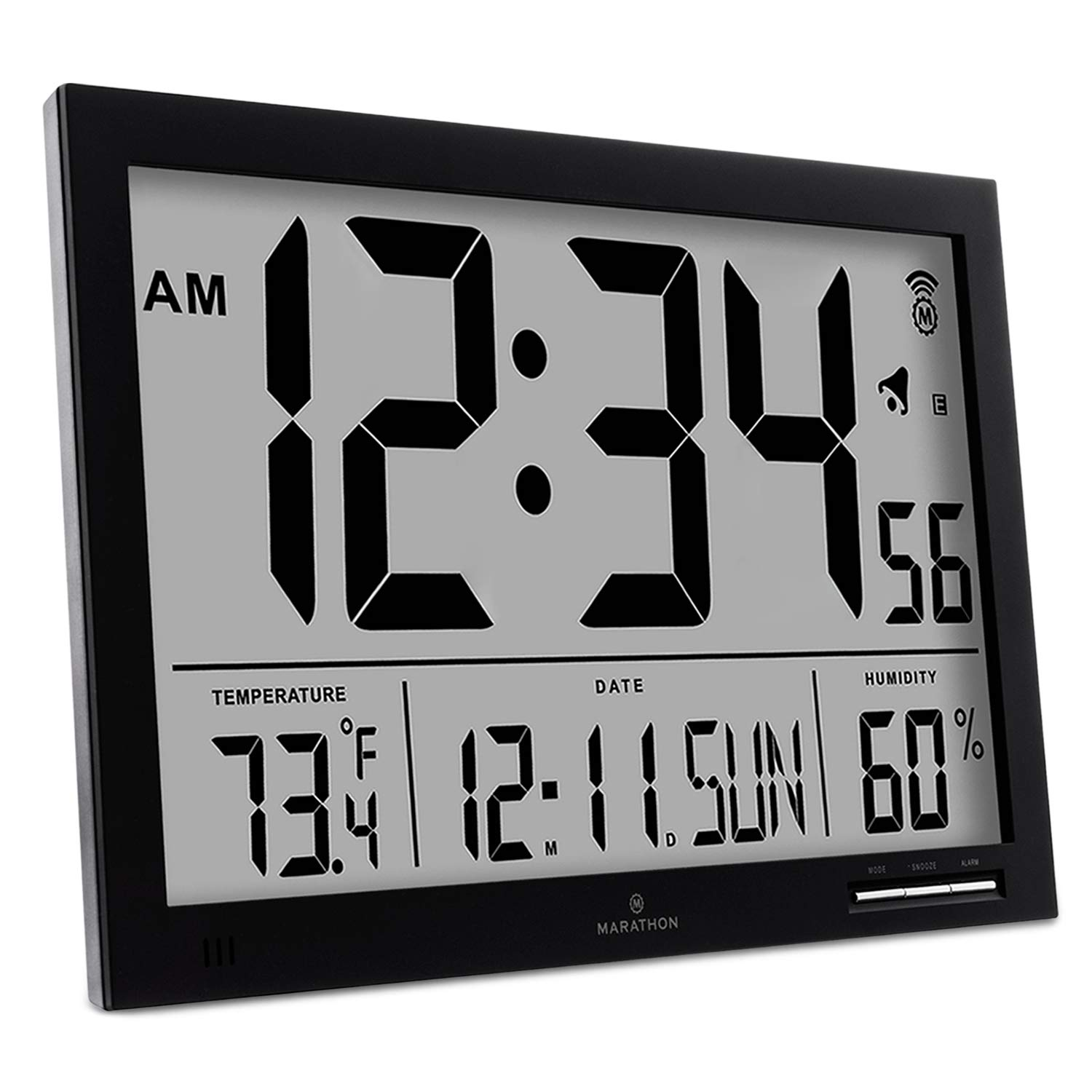 MARATHON CL030062BK Slim-Jumbo Atomic Digital Wall Clock with Temperature, Date and Humidity (Black)