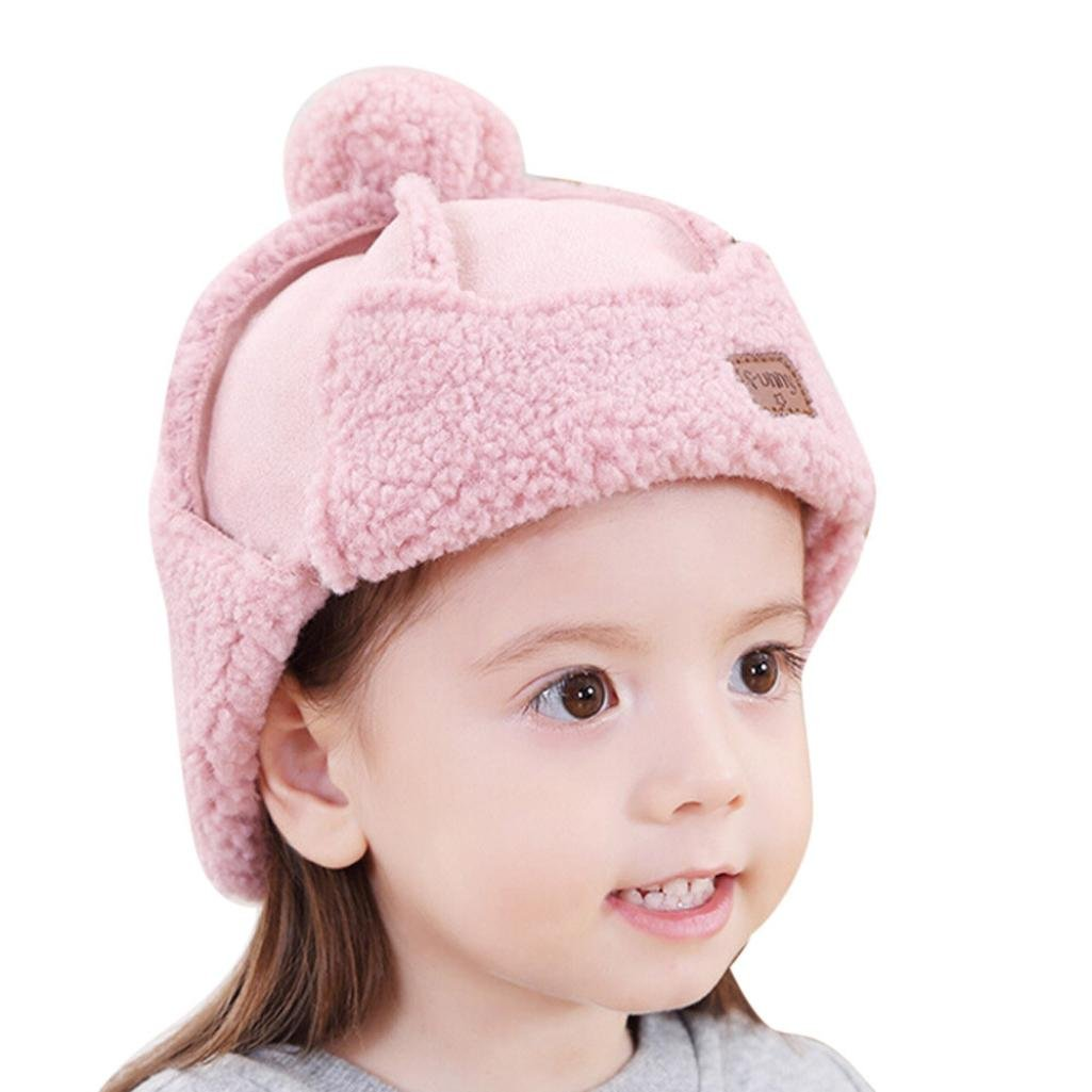 ベビーニット帽子、todaies新生児女の子乳児幼児イヤーフラップハットBoyソフト帽子キャップ 1Pc ピンク B076S3SXV8