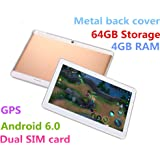 10.1 inch The metal back cover Tablet Android 6.0 GPS Octa Core 2560X1600 IPS Bluetooth RAM 4GB ROM 64GB 13.0MP 3G Phone Call Tablets PC Dual sim card TYD-108-Golden