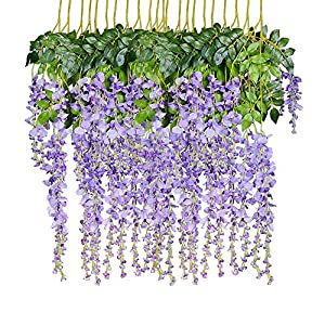 certainPL 12 Pack Artificial Wisteria Hanging Garland Silk Flowers String Home Party Wedding Decor 5