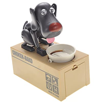 CHIMAERA Black Robotic Coin Munching Dog Piggy Bank: Toys & Games