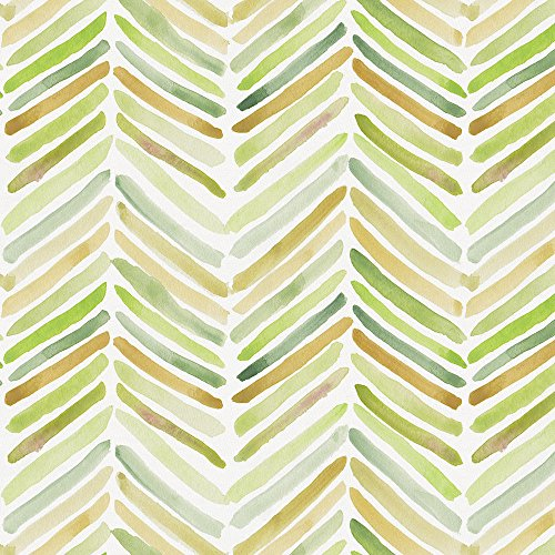 Carousel Designs Green Painted Chevron Fabric by The Yard - Organic 100% Cotton -