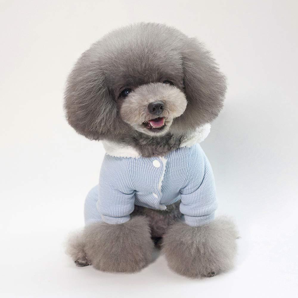bluee S bluee S Party Pet Costume Pet Supplies Misc Pet Dog Clothes Pets Autumn and Winter New Cotton Coat (color   Green, Size   S) Pet Uniform (color   bluee, Size   S)