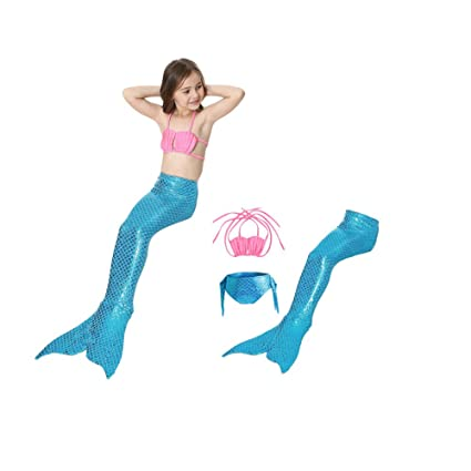 Amazoncom Mermaid Swimming Suit 3pcs Swimwear Top Panties Mermaid