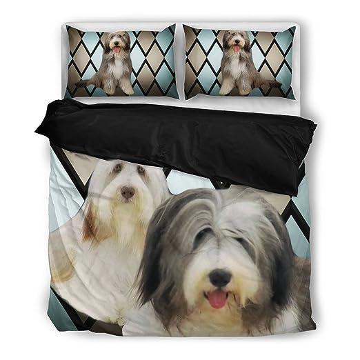Collie Barbudo Impresión Juego de ropa de cama, diseño de perro los amantes regalos - personalizado para diseño de impresión fundas de almohada y edredón ...