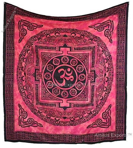 Amitus Exports(TM) Premium Quality 1 X Om Chakra Healing Red Tie Dye Color Size 88X81 Inches (Approx.) Indian Mandala Tapestry Thin Cotton Fabric Th…