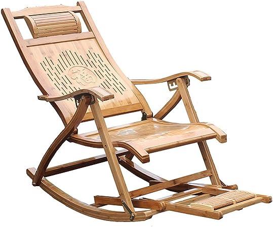 XEWNEG Silla Mecedora De Bambú, Silla Reclinable Plegable De Jardín, con Masaje De Pies, Sillón para Ancianos, Tumbona De Terraza Ajustable Al Aire Libre: Amazon.es: Hogar