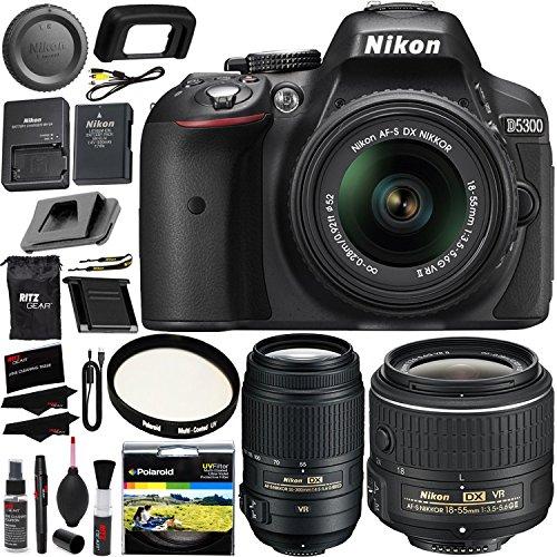 Nikon D5300 Digital SLR Camera 18-55mm f/3.5-5.6G ED VR II S DX Lens, AF-S DX NIKKOR 55-300mm f/4.5-5.6G ED Lens, Polaroid Filter, Cleaning Kit & Accessory Bundle International Version No (Iis Class Bundle)