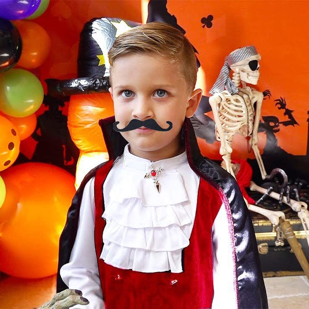 Black and Multicolor Sopcone 48PCS Self Adhesive Fake Mustache Set Novelty Hairy Mustaches for Costume and Halloween Festival Mexican Party Supplies Decorations
