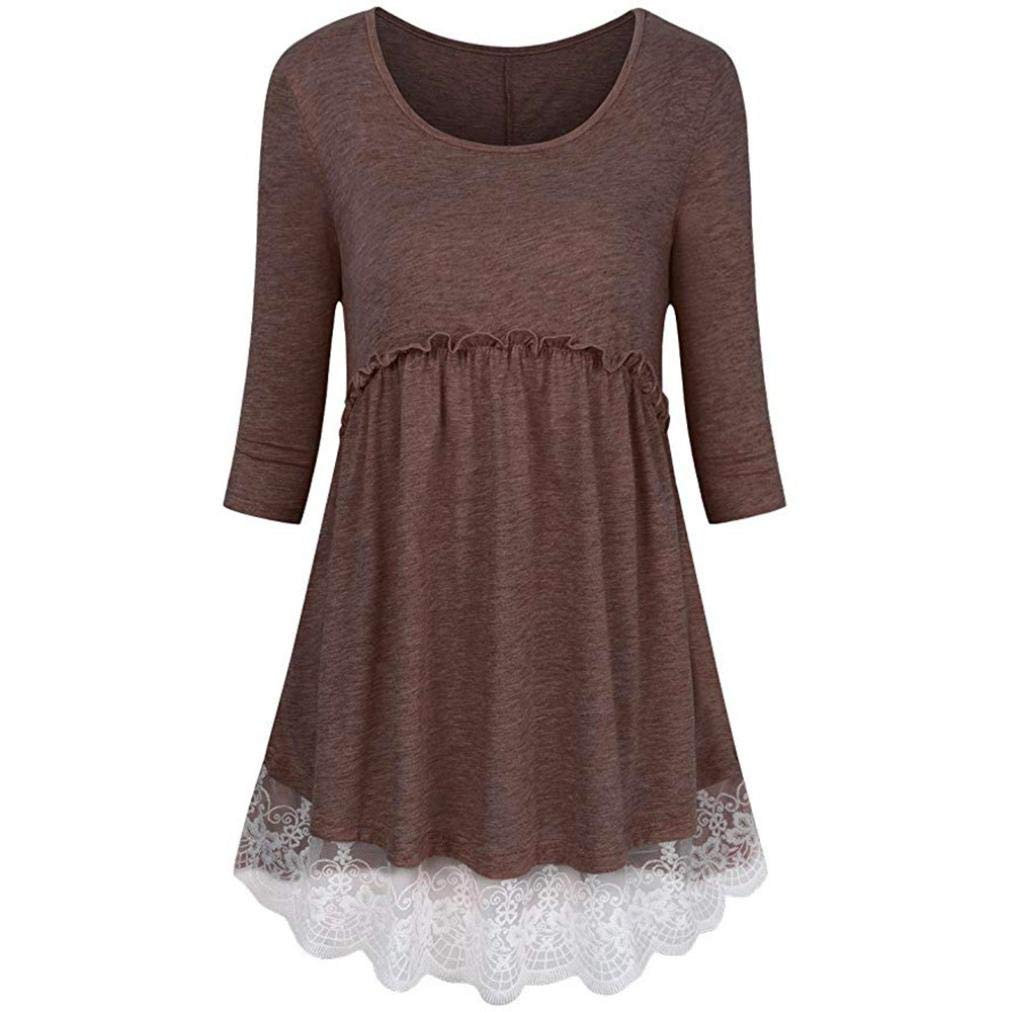 Minisoya Women 3/4 Sleeve Empire Waist Lace Patchwork Tunic Pullover Tops Pleated Casual Frilled Blouse T-Shirt (Coffee, XX-Large) by Minisoya (Image #1)