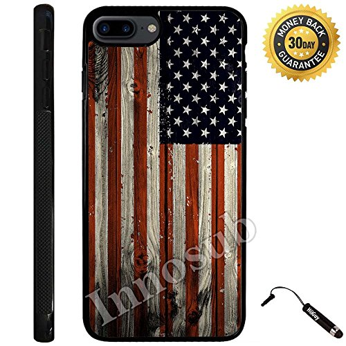 Custom iPhone 7 PLUS Case (American Flag on Wood) Edge-to-Edge Rubber Black Cover with Shock and Scratch Protection | Lightweight, Ultra-Slim | Includes Stylus Pen by Innosub (Iphone 6 Skins American Flag)