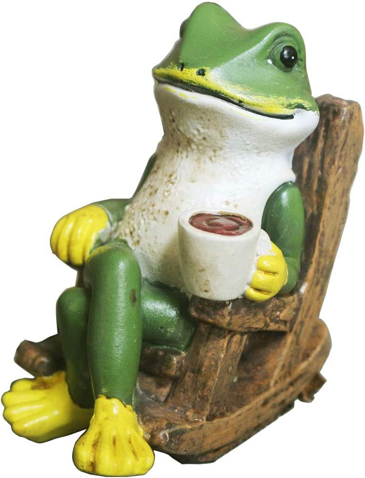 Creative Green Frog Garden Statue Drinking Coffee Indoor Outdoor Garden Statue Decoration, 4-Inch, Collectible Frog Figurine Statue Model Sculpture