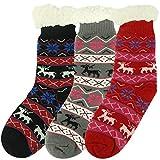 Home Slipper Women's Winter Warm Snowflake Deer Elk Christmas Novelty Gift Stockings Indoor House Anti-slip Slipper Socks,3 Pairs