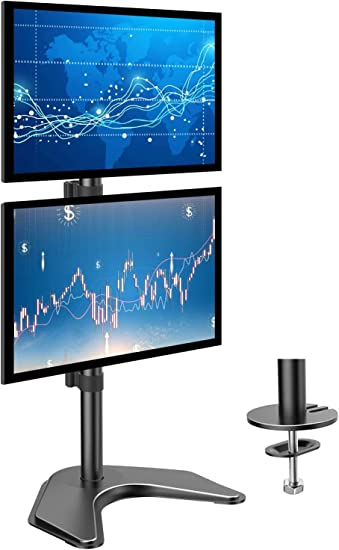 "Dual LCD Monitor Stand Free Standing w// Weighted Mount up to 24/"" monitors"