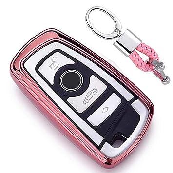 Rosado Funda de TPU Suave para Llave + Llavero para Coche BMW 1 3 4 5 6 7 Series BMW X3 X4 X5 X6 M3 M4 M5 M6 Remote Smart 3 4 Buttons
