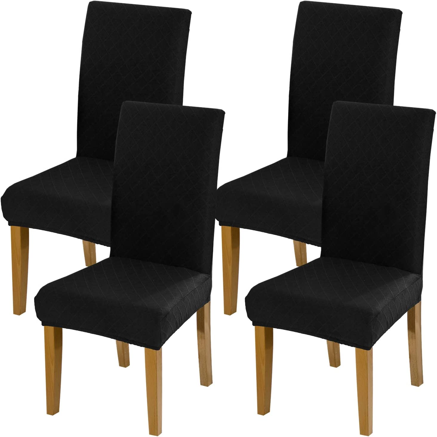 YISUN Stretch Dining Chair Covers, Spandex Jacquard Removable Washable Dining Chair Protect Cover Seat Slipcover for Hotel, Dining Room, Ceremony, Banquet Wedding Party (Black, 4 PCS)